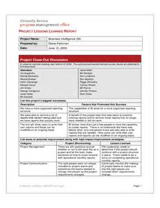 Lesson Learned Template by Project Lessons Learned Report Free