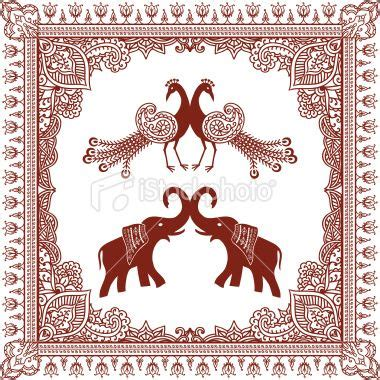 henna tattoo indian culture an intricately detailed frame with a pair of elephants