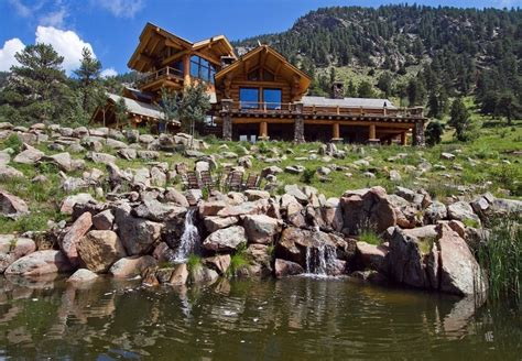 home in the mountains imposing log house in colorado mirroring views of the