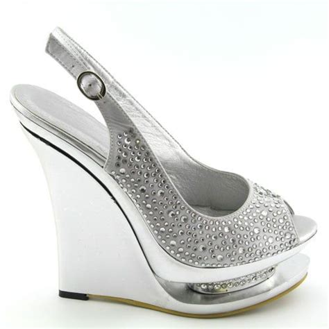 silver diamante satin womens wedge heel bridal