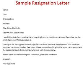 Sle Resign Letter Format by Sles Of Resignation Letters