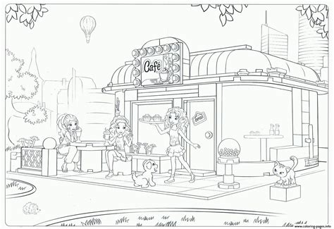 coloring book pages for lego friends cafe coloring pages printable