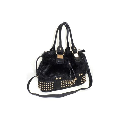Studded Bag black gold studded fur bag from parisia