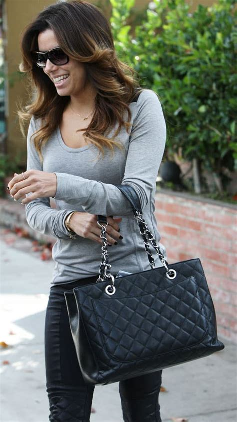 Longoria In Chanel by A Slimmer Longoria Debuts New In Quilted