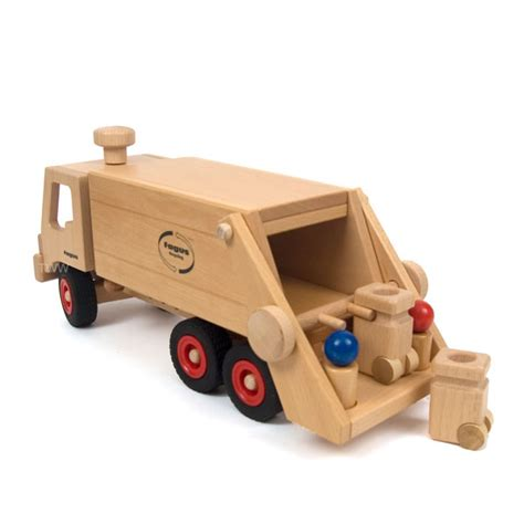 wooden truck fagus wooden trucks garbage truck wooden vehicle by fagus
