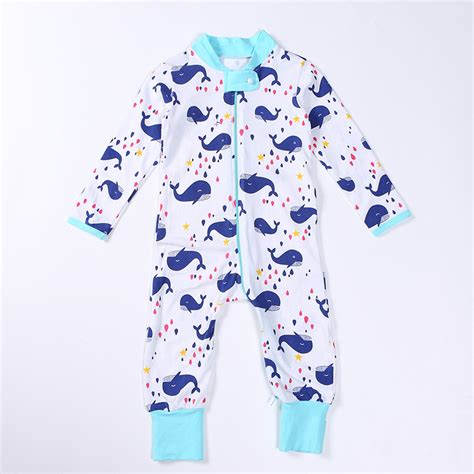 whale pattern clothes cotton long sleeve baby rompers cartoon style whale