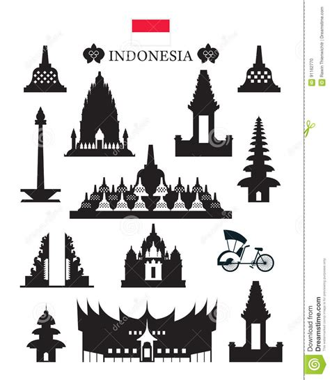 indonesia landmarks  culture object set cartoon vector