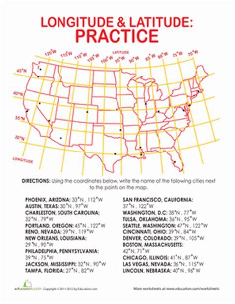 printable quiz on latitude and longitude longitude and latitude coordinates worksheet education com