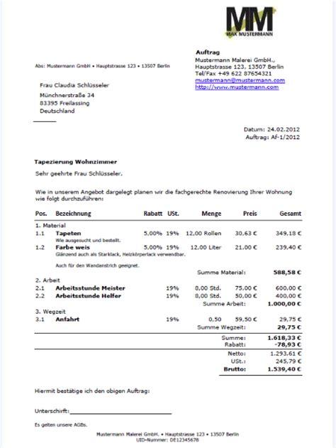 Mustertext Angebot Handwerk Auftragsbest 228 Tigung Muster Information Und Vorlage