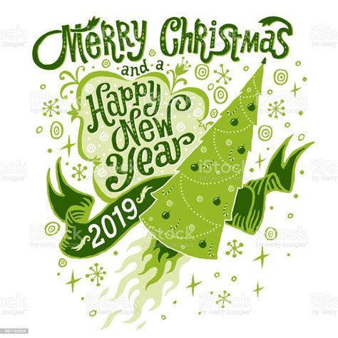 merry christmas  happy  year  greeting card stock illustration  image