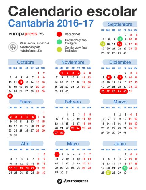 Calendario Escolar Cantabria 2016 As 237 Es El Calendario Escolar De Cantabria Que Tanto Ha