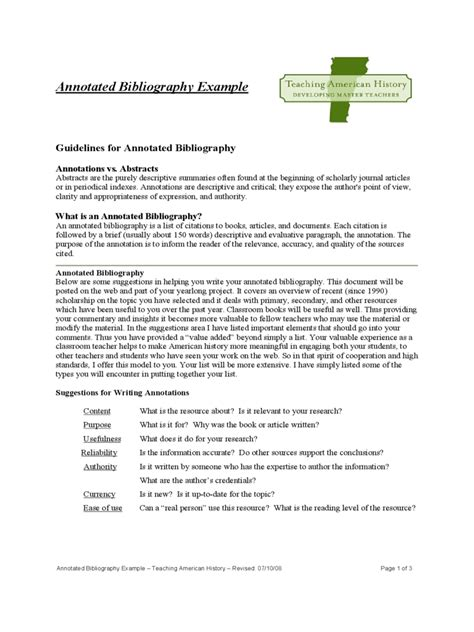 The Annotated Bibliography Annotation Template Pdf