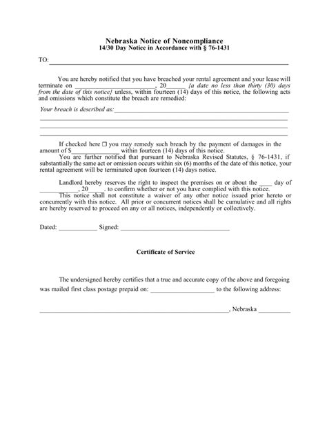 Free Nebraska 14 30 Day Notice To Quit Form Non Compliance Pdf Eforms Free Fillable Forms 30 Day Eviction Notice Form Template
