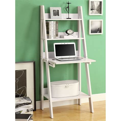 Monarch Specialties I 7040 Ladder Bookcase With Drop Down Desk With Bookcase