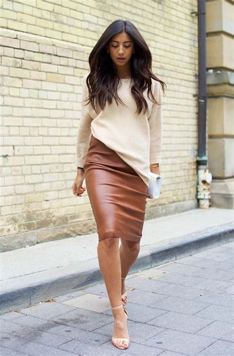 how to wear a brown leather skirt dress