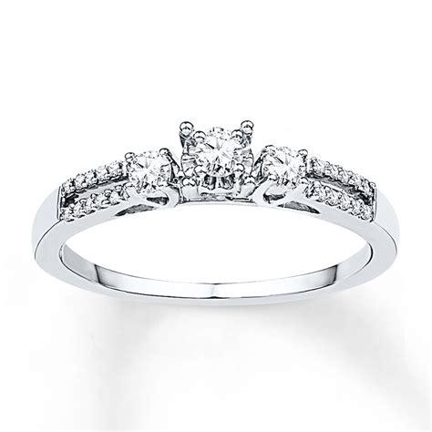 Skun Ring 1 4 three ring 1 4 ct tw diamonds 10k white gold