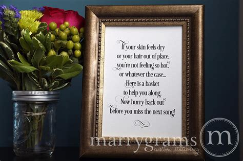 poem for bathroom basket at wedding reception wedding bathroom basket sign wedding reception signage