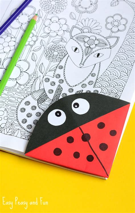 Paper Bookmarks To Make - ladybug corner bookmark origami for easy peasy