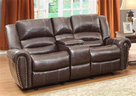 Reclining Sofa With Center Console Center Hill Brown Glider Reclining Loveseat With Console 9668brw 2 Homelegance