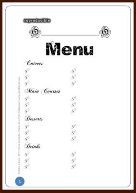 free printable menu template restaurant menu design blank