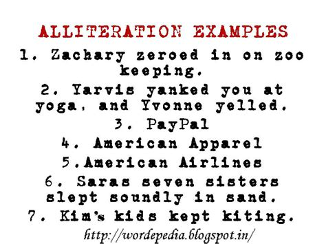 alliteration poem exles images