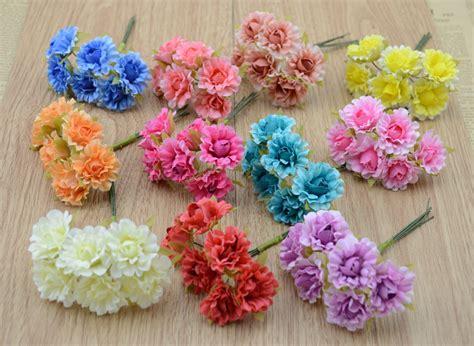 Bahan Bunga Kecil 1 1 bunch 6 pcs simulasi mawar kecil bunga bunga simulasi garland buatan tangan bahan