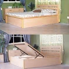 Platform Bed With Hinged Storage Diy Size Storage Bed Includes Cutting Plans