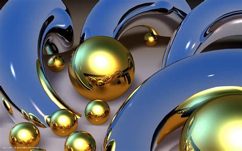 gold abstract reflective spheres hd widescreen