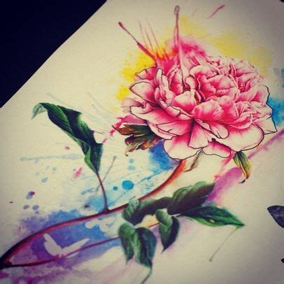 watercolor peony tattoo 14 peony watercolor tattoos