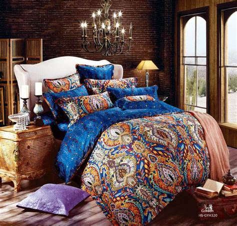 Quilt Comforter Sets King by Cotton Blue Paisley Satin Luxury Hotel Bedding