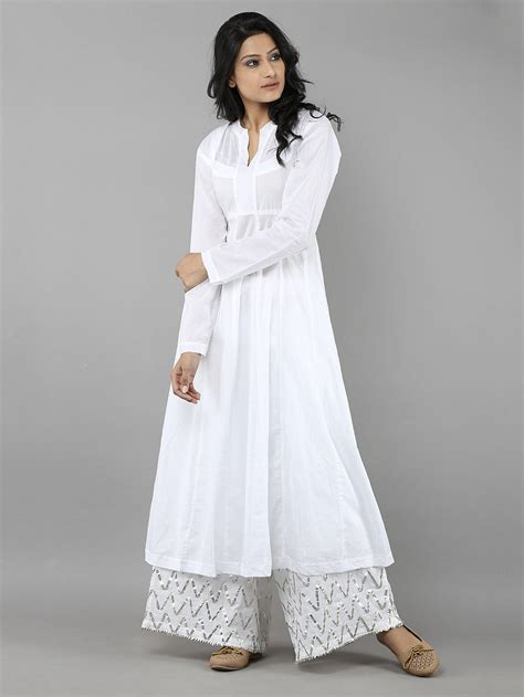 kurti pattern in white buy white mulmul kurta and ijar pants set of 2 online at