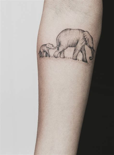 elephant mom and baby tattoo and baby elephant baby