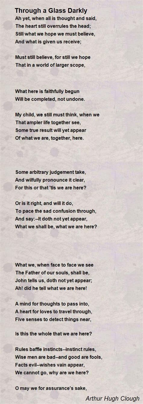 darkly poetry books through a glass darkly poem by arthur hugh clough poem