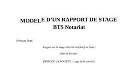 Exemple De Lettre De Motivation Bts Notariat Rapport De Stage Bts Notariat