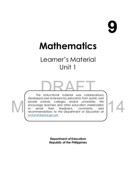 Math 9 Module 1 Amp 2