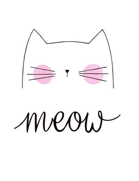 cute cat drawings meow cat print by morningswithcoffee pinteres