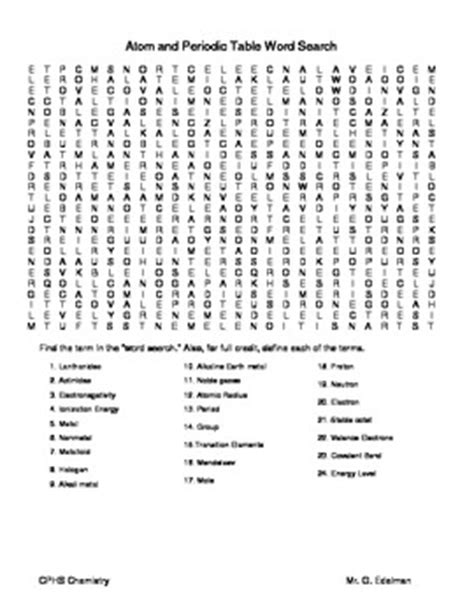 atom and periodic table word search by gary edelman tpt