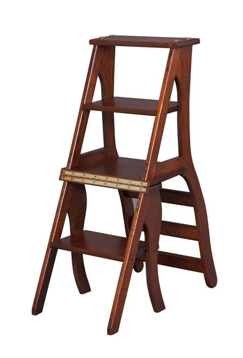 Step Stool Chair by Wooden Library Step Stool Chair Amish Furniture 4126