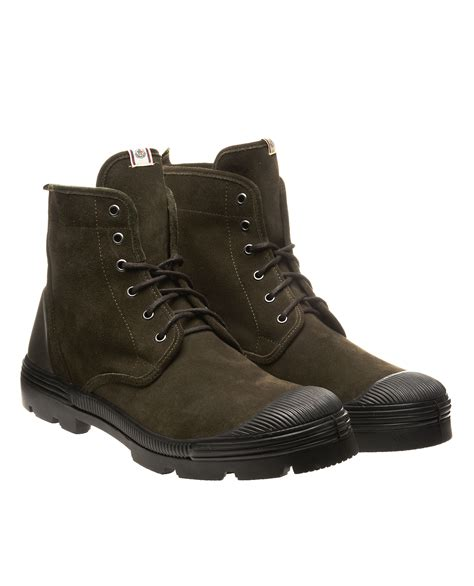 mens moncler boots moncler lace up ankle boots in green for army lyst