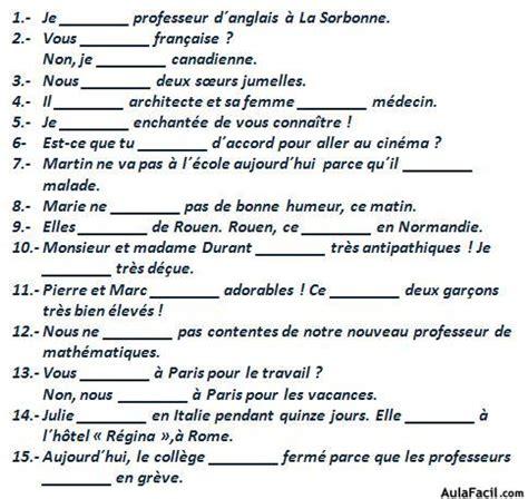 preguntas de gustos en frances le verbe quot 202 tre quot franc 233 s elemental ejercicios