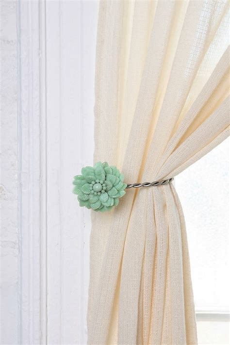 Antique brooch mint colored curtain tie back