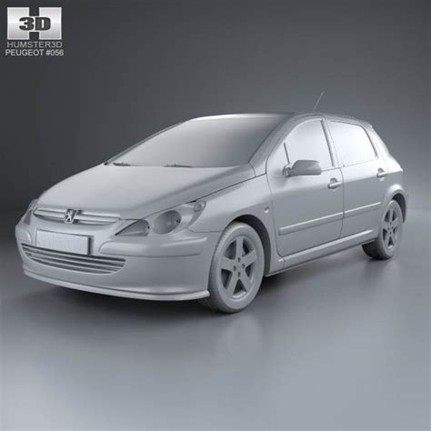 peugeot hatchback models peugeot 307 5 door hatchback 2001 3d model hum3d