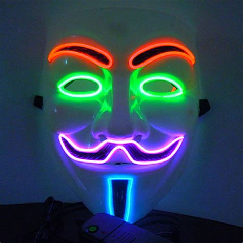 Glowing Kefir Mask 10 Days 2016 free shipping flash el wire led glowing dj mask vendetta v mask for bar sale in