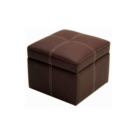 Faux Leather Storage Cube Ottoman In Coffee Brown 2071209 Leather Cube Ottoman Storage