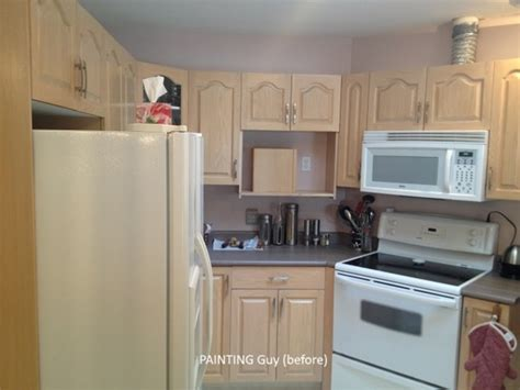 painted oak kitchen cabinets before and after painting oak cabinets painting guys