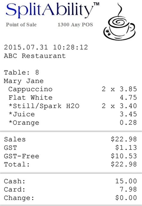 coffee shop receipt template set up for tax rates splitability