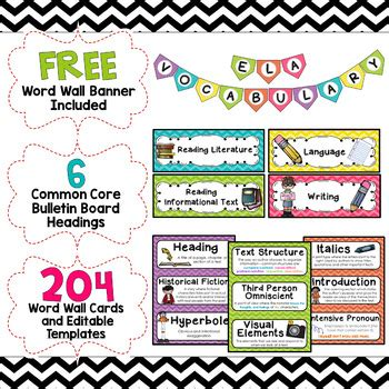 word wall cards template ela word wall editable 6th grade chevron tpt