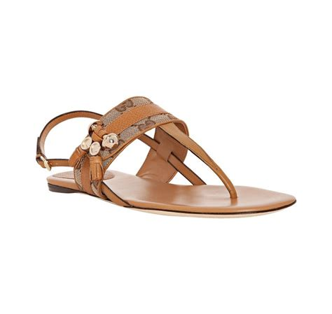 Sandal Wedges Jepit Gucci Jh87 20 gucci leather gg canvas marrakesh flat sandals in brown lyst