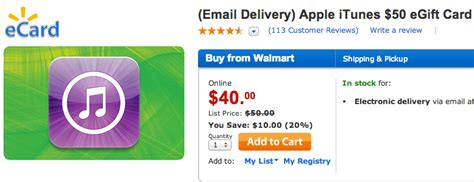 Walmart Itunes Gift Card - walmart offers 50 itunes gift card for 40