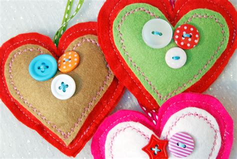 three felt heart decorations christmas decoration happy